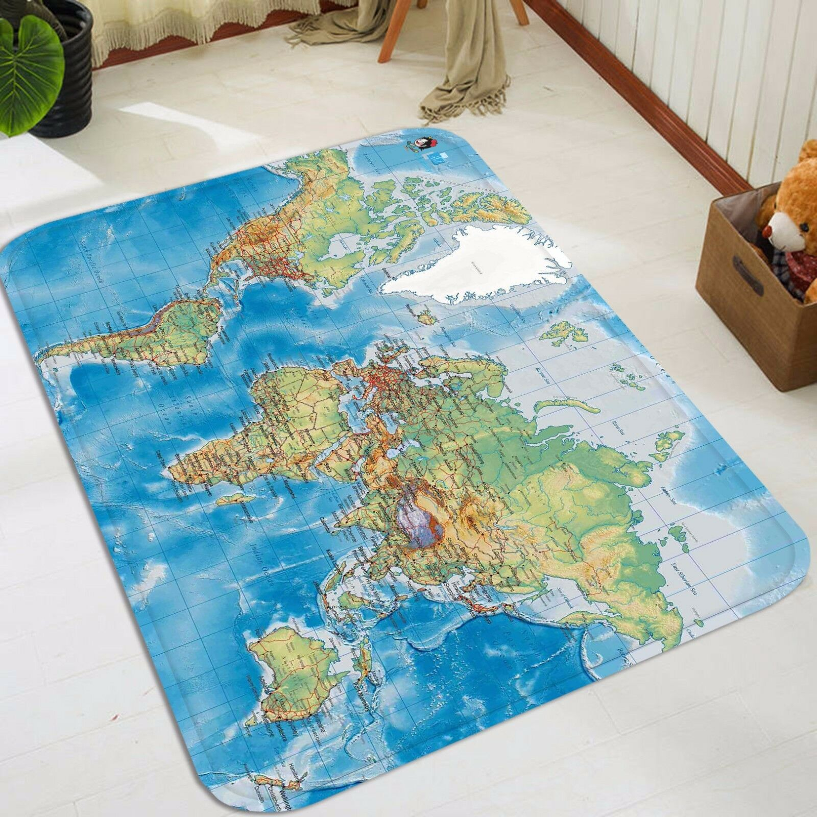 3D Map Bule 5 Non Slip Rug Mat Room Mat Quality Elegant Photo Carpet AU Summer