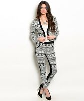Womens Tribal Print Jacket And Pants Two Piece Set