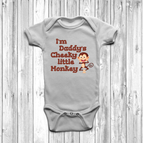I/'m Daddy/'s Cheeky Little Monkey Baby Grow Body Suit Vest 0-18 Months Cute