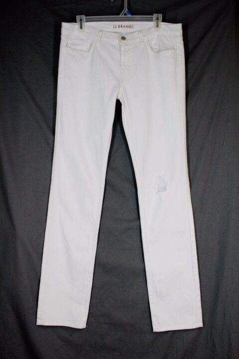 J BRAND 2912 Petite Pencil Leg Jeans Size 31 White Mid Rise Skinny Stretch Denim