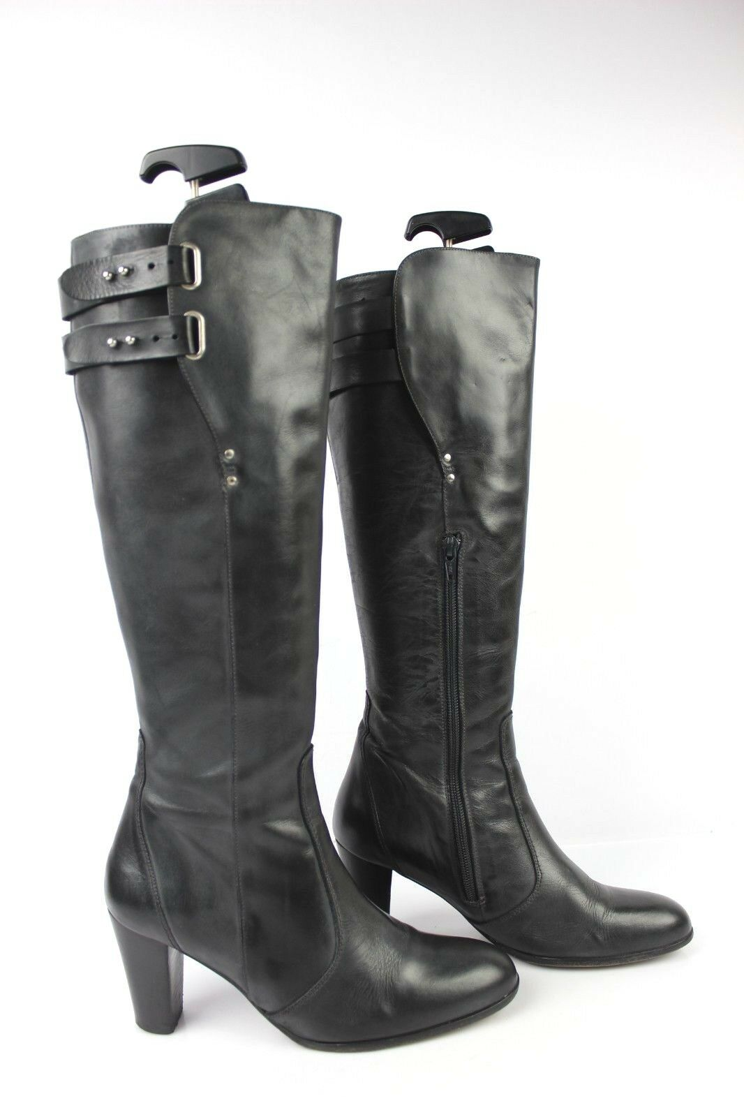 ANN TUIL Boots All Leather Black T 37 Good Condition
