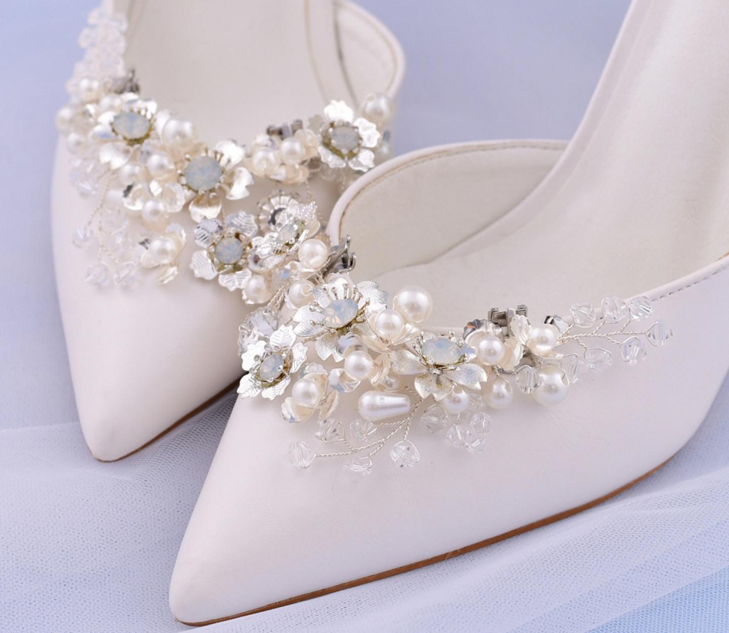 2 Pcs Fashion Rhinestone Crystal Pearl Silver Flower Shoe Clips Shoe Charms