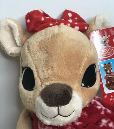 NEW Dandee Rudolph The Red Nose Reindeer Clarice Plush /& Snowflake Throw Blanket