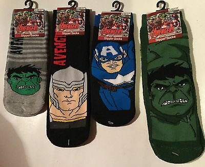 Captain America size Infant 6-8 Boys 2 Pack Marvel Comics Trainer Socks Hulk