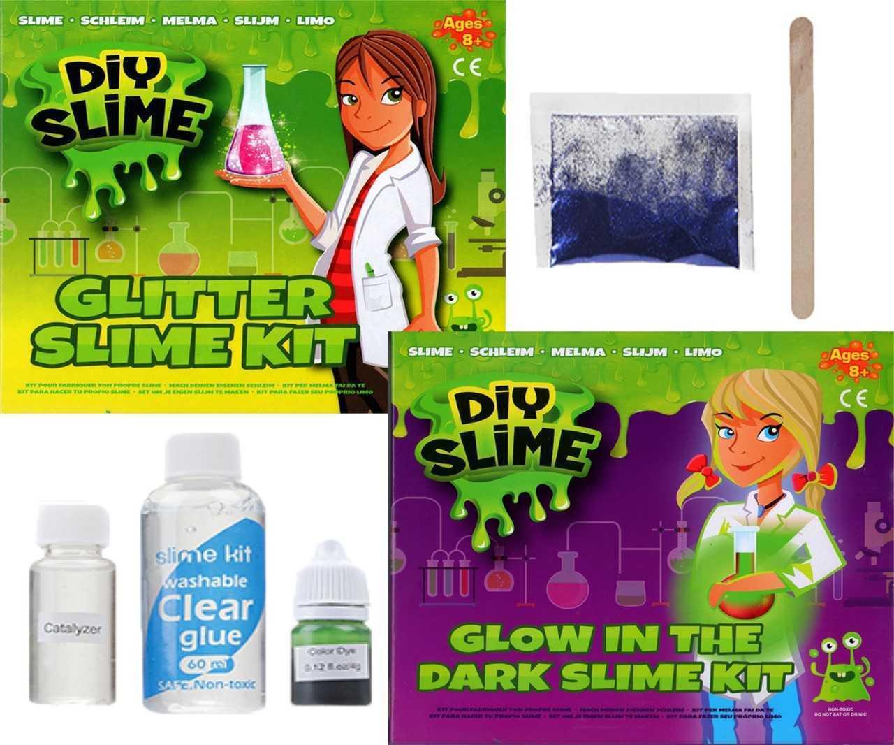 Make Your Own Slime DIY Kit Set Glitter & Glow In The Dark Effect Safe Kids 3084