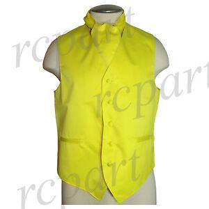 New Men/'s formal vest Tuxedo Waistcoat/_bowtie /& hankie set yellow prom wedding