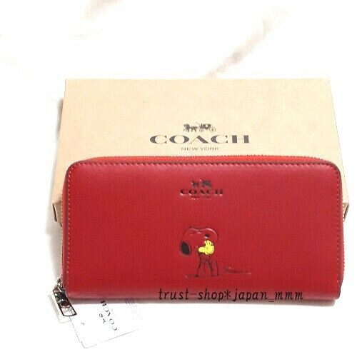 New Coach x Peanuts Snoopy Long Wallet Red OUTLET Item From Japan w/tracking