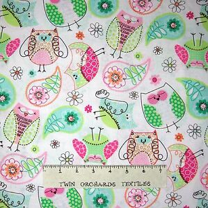 3 Wishes YARD Green Pink Blue Owl /& Paisley Toss on White Baby Fabric