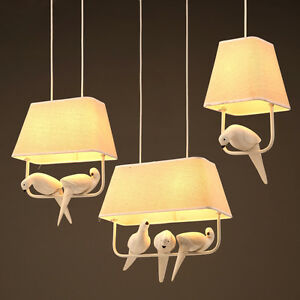 Image Is Loading New Resin Bird Pendant Lamp Fabric Shade Chandelier
