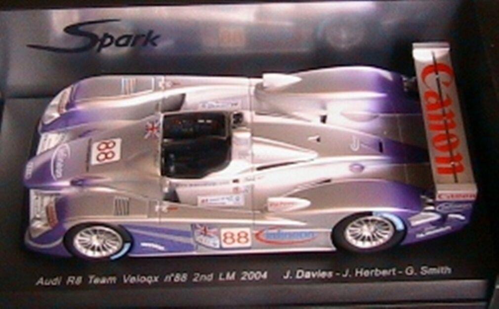 AUDI R8 TEAM VELOQX  88 2ND 24 HOURS OF LE MANS 2004 SPARK 1 18 NEW