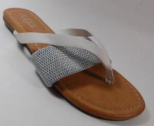 baad15594a2475 NEW Womens SUGAR JOAN White Silver Fashion Flat Thongs Sandals ...
