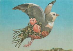 Animals-Postcard-drawing-of-dove-in-mid-air