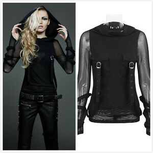 Punk-Rave-T-407-Womens-Black-Gothic-Punk-Hoodie-Mesh-Top