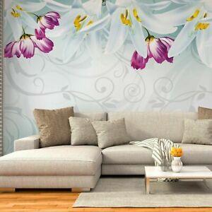 Details zu VLIES FOTOTAPETE Blumen TAPETE Schlafzimmer WANDBILDER XXL  Dekoration Blau