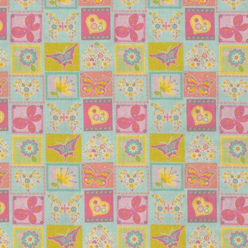 ♥ SCHMETTERLINGE Blumen Zarte Farben ♥ Stoff Baumwolle 50x140