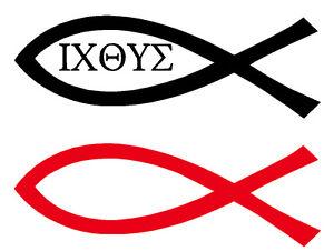 Aufkleber Ichthys Fisch Symbol Zeichen Christentum Kirche Jesus Fur