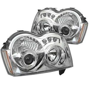 Projector-Head-Lights-Lamps-Jeep-Grand-Cherokee-2005-2007-HALO-LED-Chrome