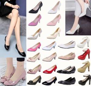 Women-Ladies-Slip-On-Mid-Kitten-Heel-Pointed-Toe-Court-Work-Party-Pump-Shoes