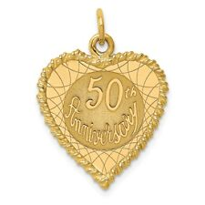 14k Yellow Gold Faceted Happy 50th Anniversary Charm Pendant 29mmx19mm