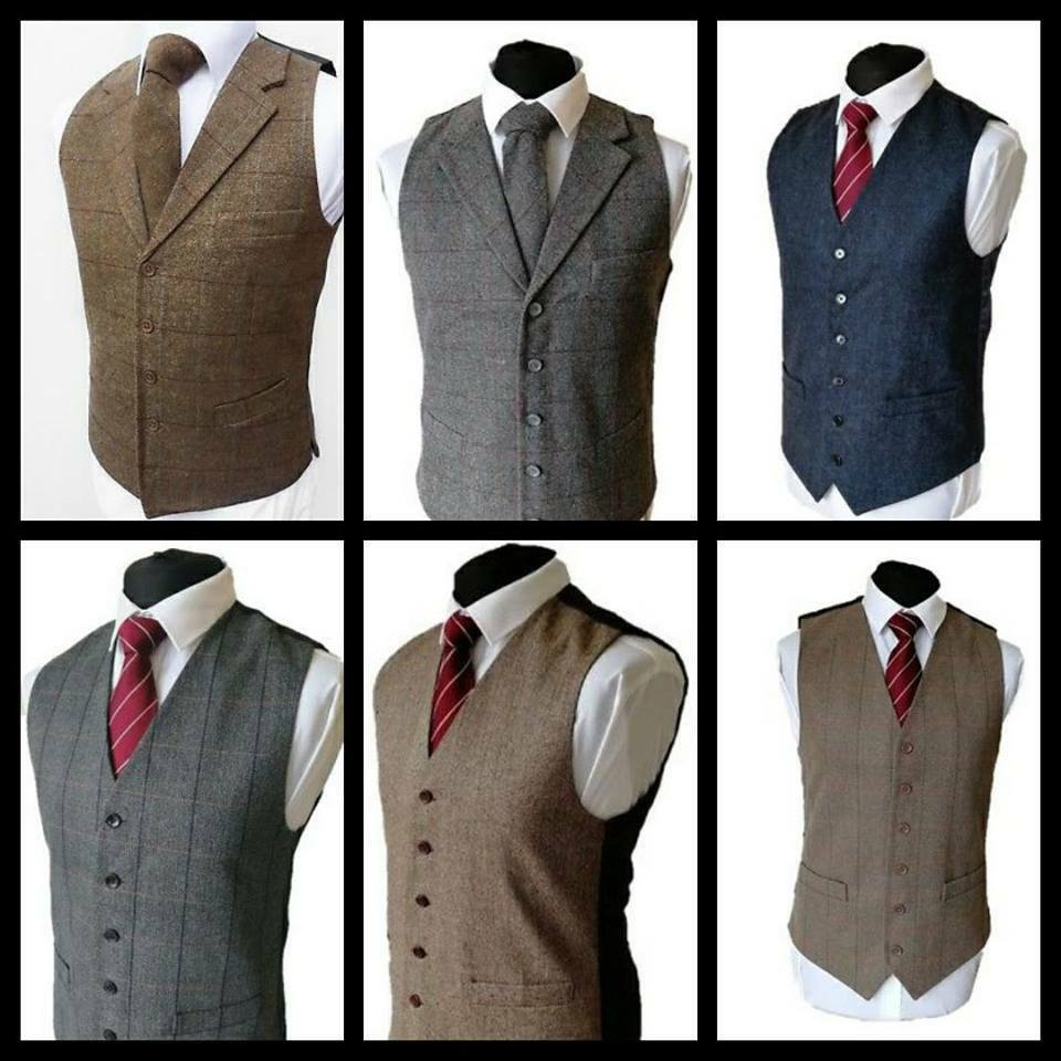 Men Waistcoat Vest Wool Blend Tweed Wedding Gilet Formal Lloyds Attree Smith
