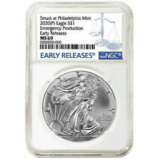 2020 (P) 1 oz Silver Eagle Emergency Production Philadelphia $1 Coin NGC MS69 ER