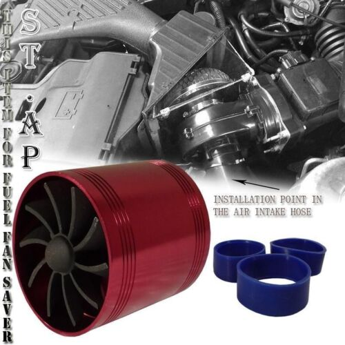"3.0/""-3.5/"" Universal Tornado Turbo//Cold//Air Intake Gas Fuel Saver Dual Fan Red"