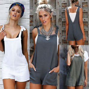 9fd0fed1cf57 Image is loading Fashion-Women-Straps-Jumpsuits-Overalls-Shorts-Pants-Romper -