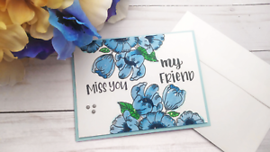 Handmade-Greeting-Card-Miss-You-my-Friend-Friendship-Blue-Flowers-A2-Size