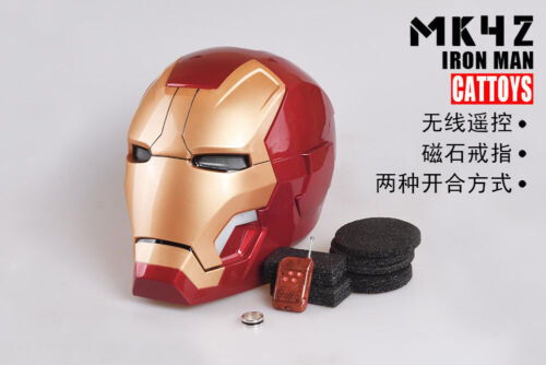 NEW Ironman MK42 IRON MAN Helmet MAGNETIC RING CONTROL ELECTRIC OPEN LED EYE COS