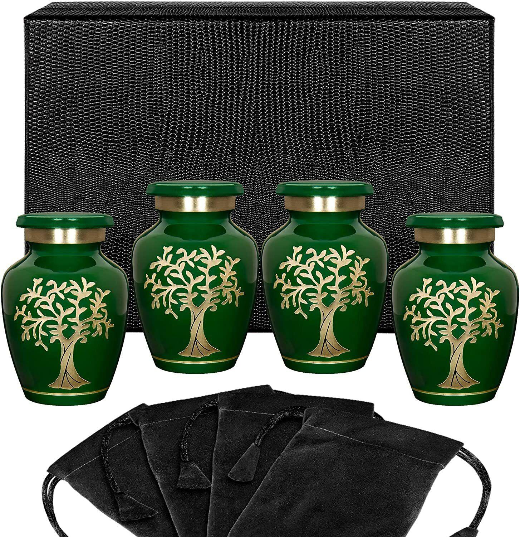 Árbol de la vida verde pequeño recuerdo urnas para cenizas humanas Estilo Moderno-Juego de 4