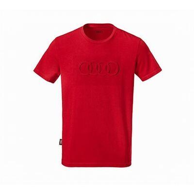 Original Audi T-Shirt, Audi Tshirt, Herren Shirt Audi Ringe in rot