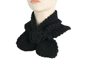 Women-Black-Winter-Neck-Warmer-Flower-Bow-Fashion-Scarf-Head-Hair-Cover-Holidays