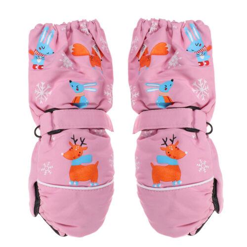 Girls Waterproof Thick Warm Windproof Long-sleeved Mittens Children Ski Gloves