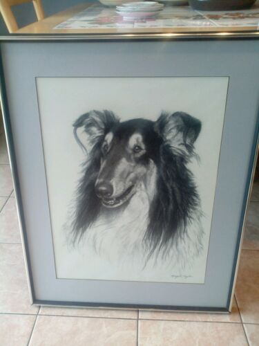 """SCARCE"" ORIG FRAMED CHARCOAL DRAWING OF DOGSGND NATURE ARTIST MERYLE C TON"