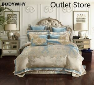 Jacquard-Silk-Cotton-Luxury-Bedding-Sets-4-6-10Pcs-Bed-Set-Cover-Flat-Bed-Sheet