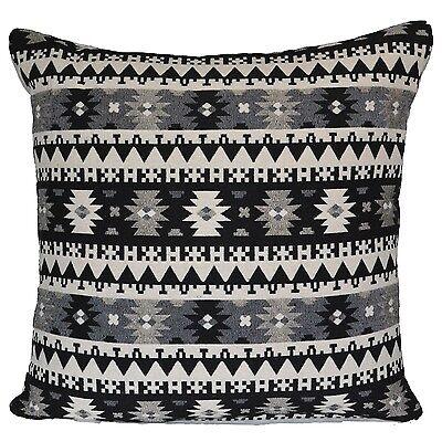 """Rétro noir gris crème harlequin aztèque housses de coussin 24x24/"""" grand sol indien"""