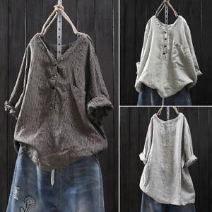 ZANZEA-Women-Striped-Printed-Long-Sleeve-Tops-V-Neck-Casual-Loose-Shirt-Blouse