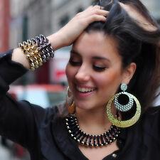 NWT Amrita Singh Beyonce 18K Gold Plated Crystal Huge Hoop Earrings ERC 1506