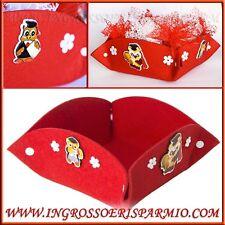 Cesto CESTINO vassoio porta confetti LAUREA con gufetto per confettate rosso