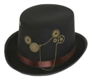 Black Steampunk Victorian Industrial Age Top Hat Costume Accessory Gears Trim