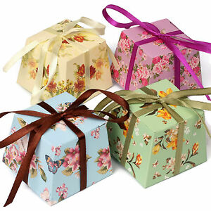 Details About Floral Vintage Small Gift Boxes Wedding Favour Chocolates Includes Ribbon