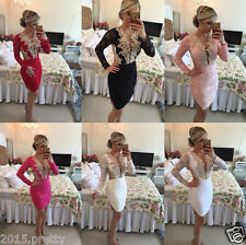 Hot Long Sleeve Beaded Lace Short Prom Homecoming Formal Pageant Cocktail Dress
