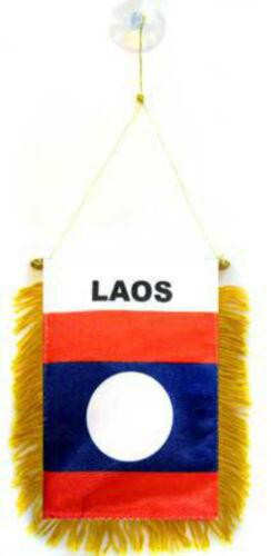 "Wholesale lot 3 Laos Mini Flag 4/""x6/"" Window Banner w// suction cup"