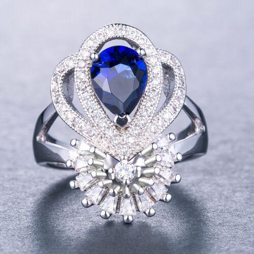 925 Silver Fashion Jewelry énorme magnifique saphir bleu bague de mariage Taille 6-10