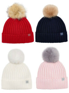 7af7b93ae11 Image is loading Joules-Popperpom-Knitted-Bobble-Hat-with-Faux-Fur-