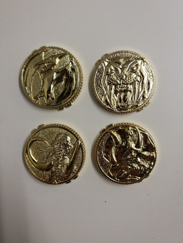 Original Bandai Mighty Morphin Power Rangers Morpher gold coins X X X 4 1993 Rare 1860fd