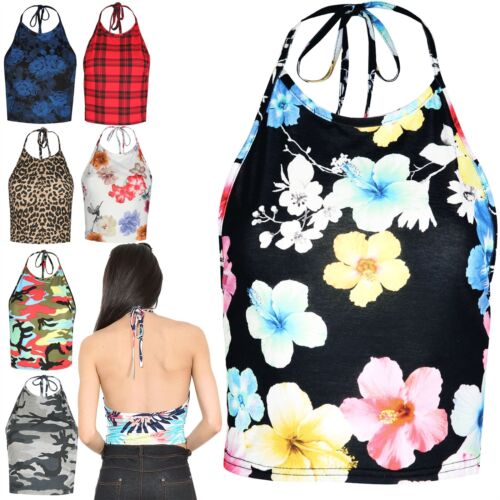 Womens Ladies Multicolor Halter High Neck Strappy Low Back Bralet Cropped Top