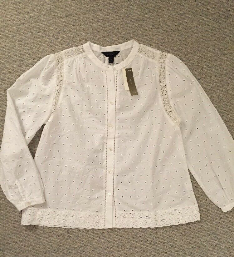 NWT J Crew Petite Eyelet Button-up Shirt Blouse G2747 Weiß SZ 10P SOLD OUT