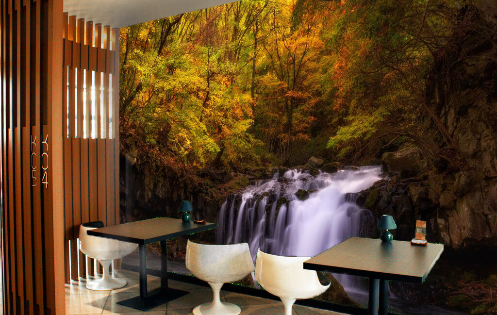 3D Leaves waterfall Wall Paper Print Decal Wall Deco Indoor wall Mural