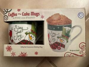 Fitz-amp-Floyd-2013-Holly-Hat-SNOWMAN-Coffee-Cake-Mugs-NIB-2-Cups-SING-WITH-JOY